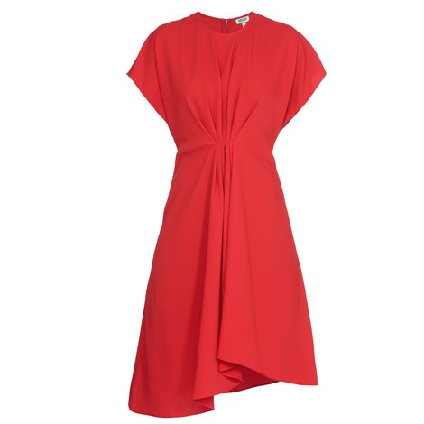 red front draped dress