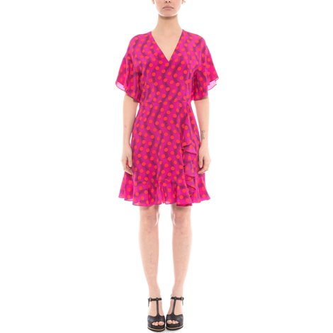 fuchsia polka dotted dress