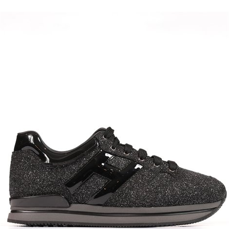 black and silver leather h222  sneakers