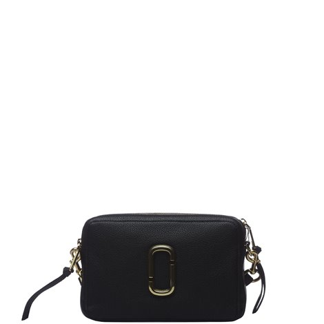 the softshot 27 crossbody bag in black leather