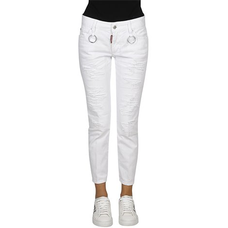 white cropped jeans