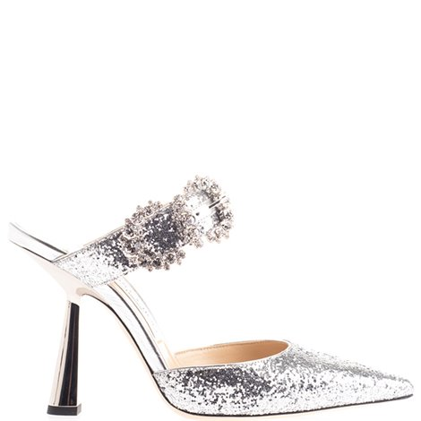 silver glittered sandals with crystals