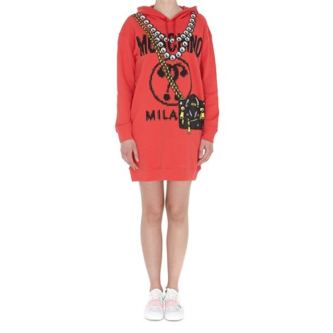 red pixel capsule dress with hood