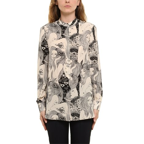 printed crepe-de-chine shirt