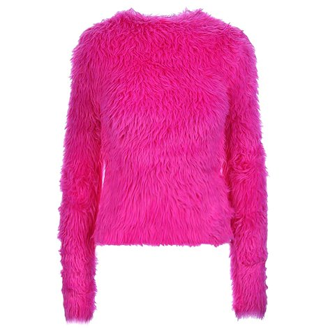 fuchsia faux fur sweater
