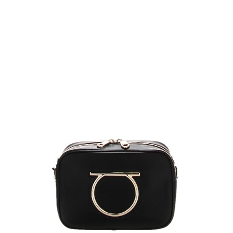 'vela' black leather bag