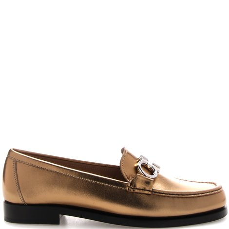 calfskin leather loafer with logo