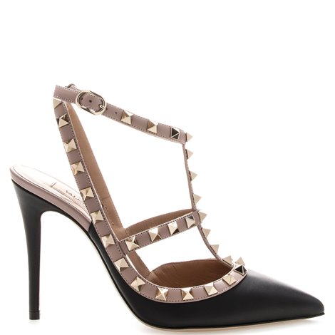 black and pink studded pumps