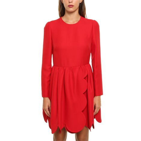 red silk and wool dress