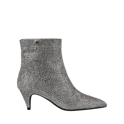 silver fabric ankle boots