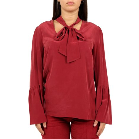 red ribboned blouse
