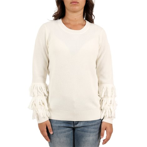 white flared sleeved pullover