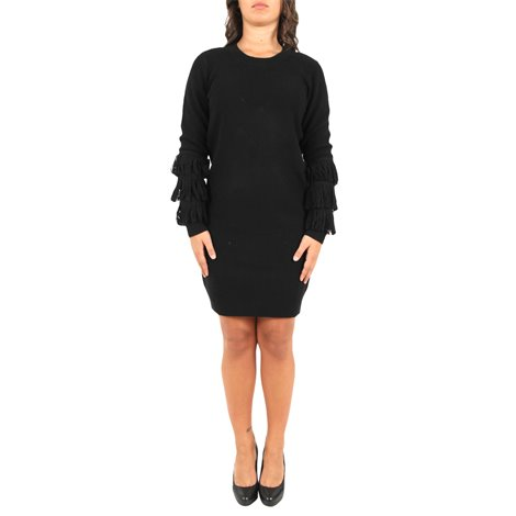 black flared sleeved dress