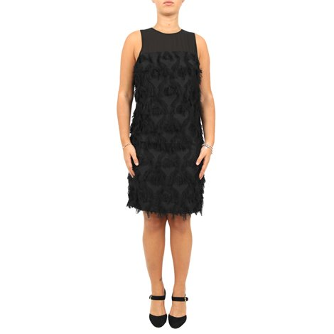 black embroidered and fringed dress