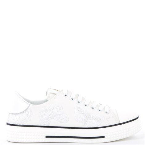 white embroidered canvas sneakers