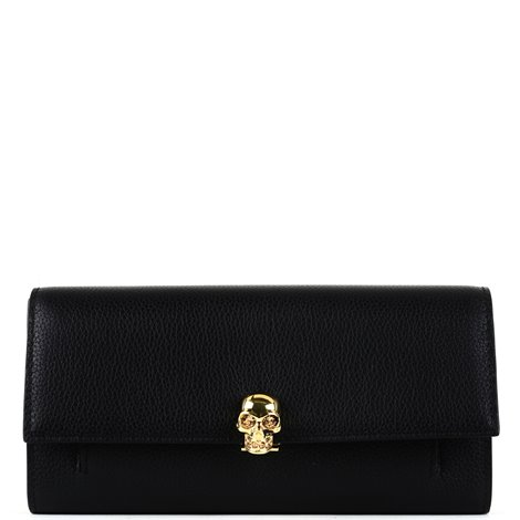 black leather skull wallet