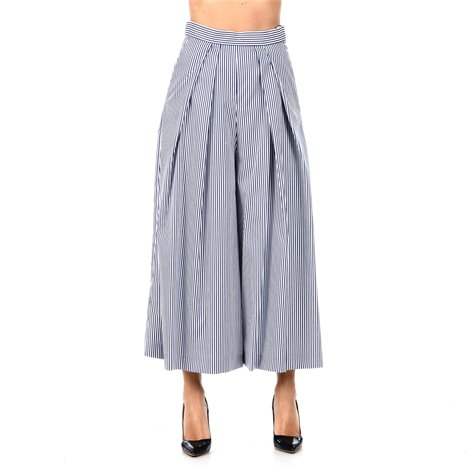 white and blue wide trousers