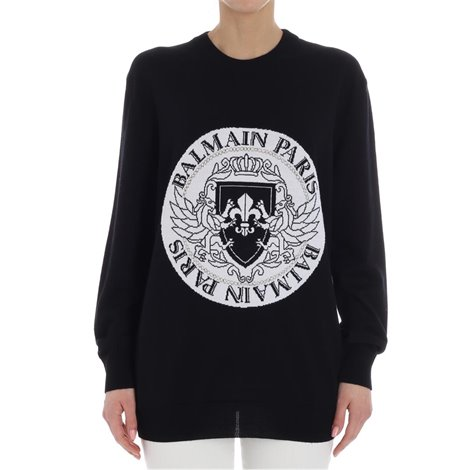 black sweater with logo embroidery