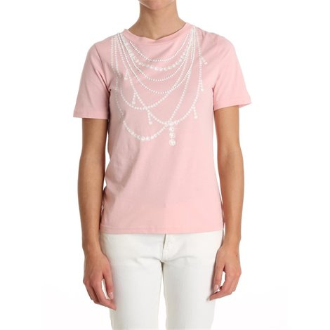pink necklace print tshirt