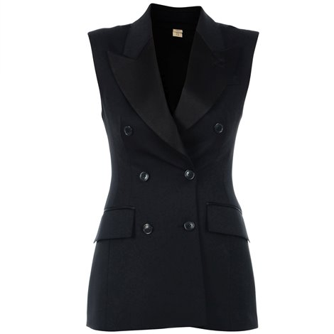 black double breasted wool waistcoat