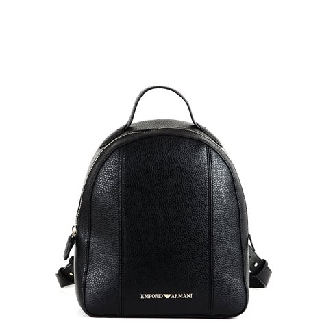 black faux leather small backpack