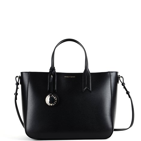 black hleather shopper