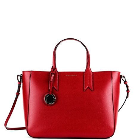 red leather logoed shopper
