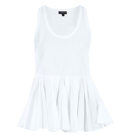 white frilled hem top