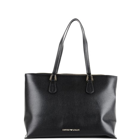 black leather shopping bag
