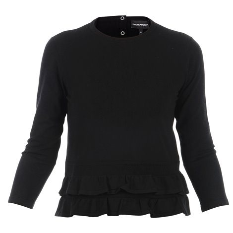 black knitwear with ruffles