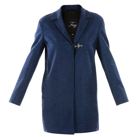blue cotton blend coat
