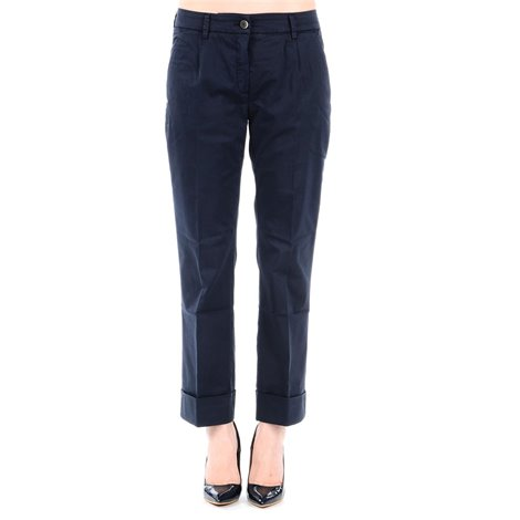 blue cotton cropped trousers