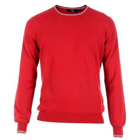 red crewneck knitwear