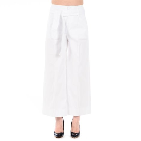 white cotton trousers with belt