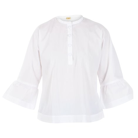 white cotton frilled top