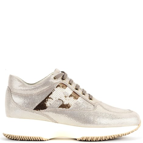 sneakers in suede shiny dorate