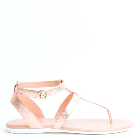 pink leather flat sandals