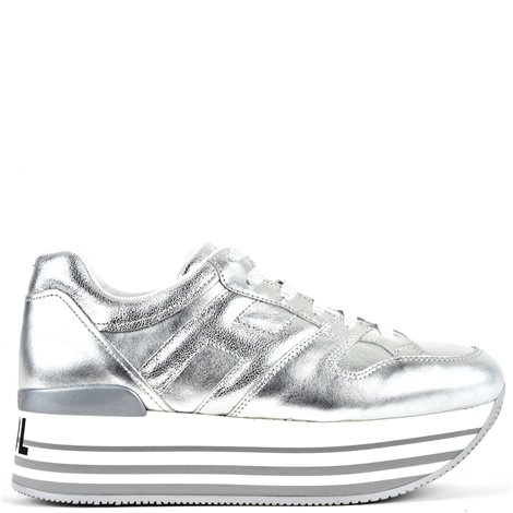 silver leather sneakers
