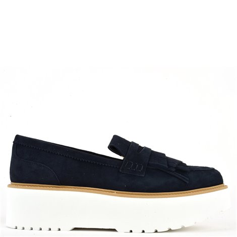 50mm blue suede loafers