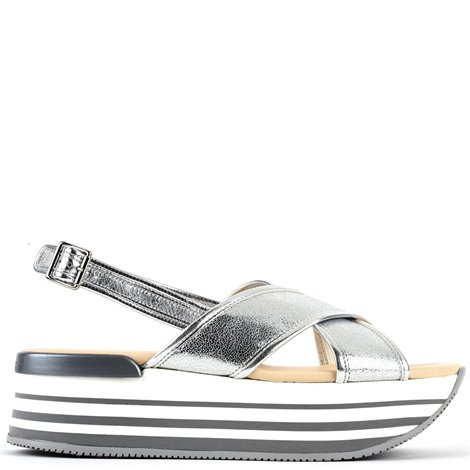 50mm silver leather sandals