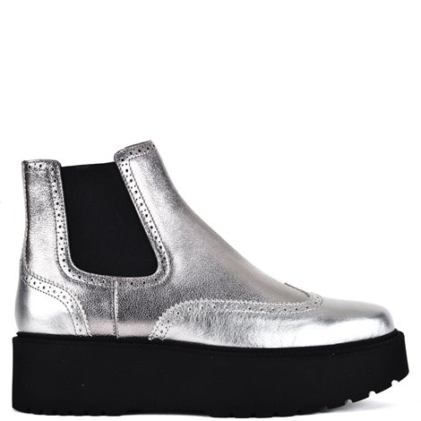 silver leather booties with maxi outsole