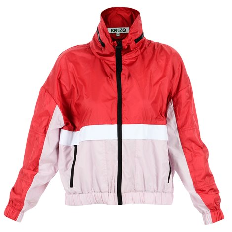 red and pink windbreaker jacket
