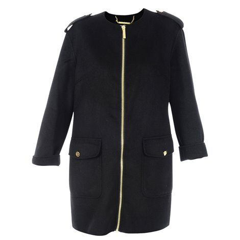 black zipped coat