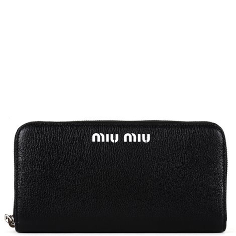 black leather logoed wallet