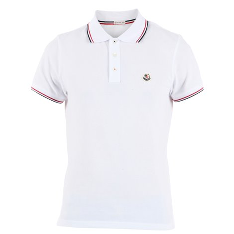 white polo with coloured hems