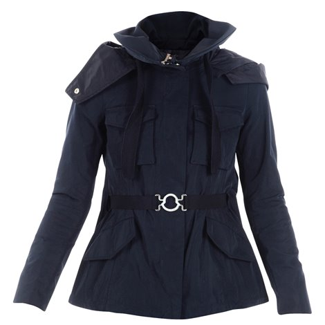blue hooded light jacket with belt