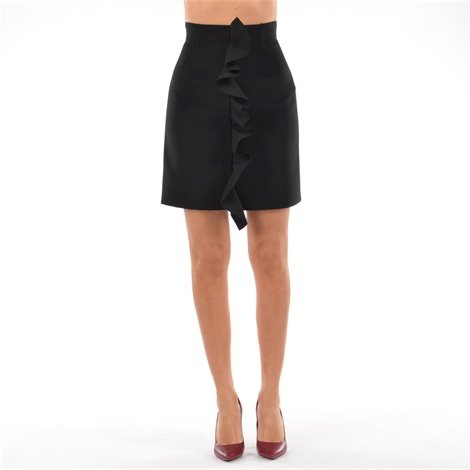 black mini skirt with rouches