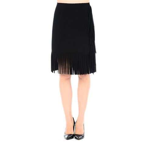 black skirt with fringe