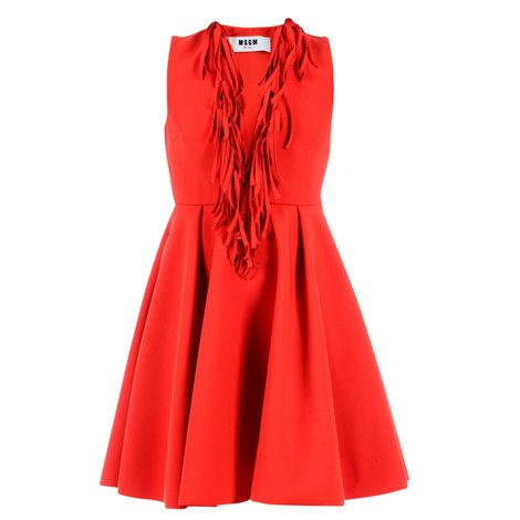 red fringes dress