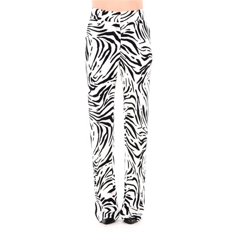 white and black zebra pattern trousers